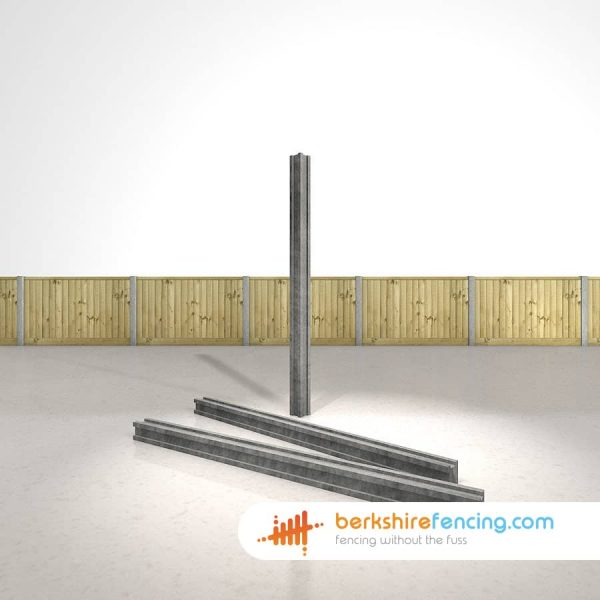 Designer Concrete Slotted Corner Fence Posts 100mm x 100mm x 2700mm Grey