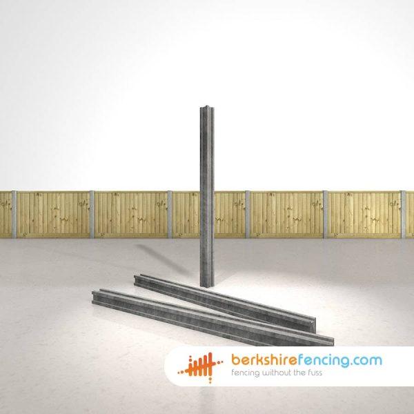 Designer Concrete Slotted Corner Fence Posts 100mm x 100mm x 2700mm Grey
