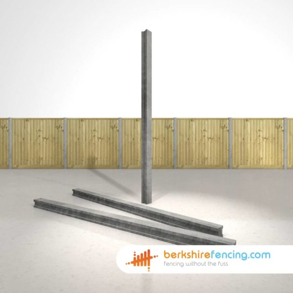 Designer Concrete Slotted Intermediate Fence Posts 100mm x 100mm x 2400mm Grey