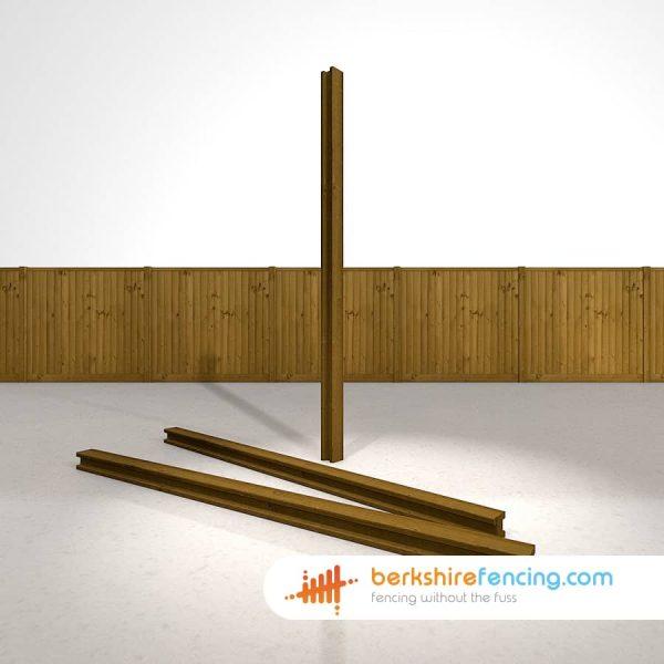 Garden Decorative H Wooden Fence Posts 100mm x 100mm x 2400mm brown