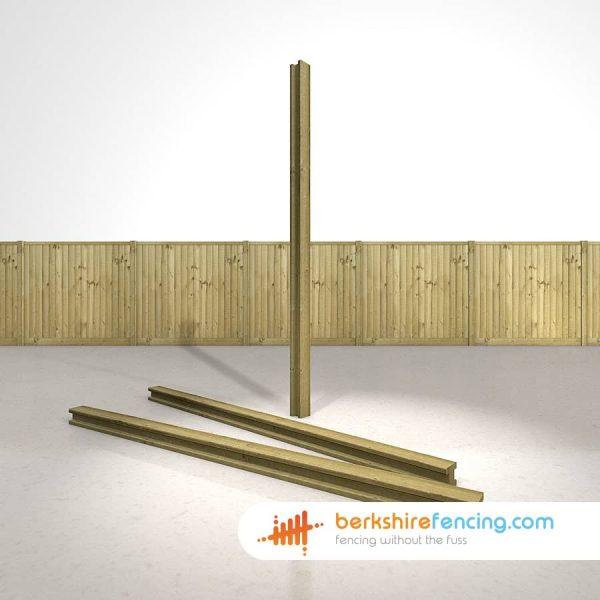 Decorative H Wooden Fence Posts 240cm x 10cm x 10cm natural