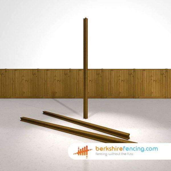 Decorative H Wooden Fence Posts 240cm x 9cm x 9cm brown