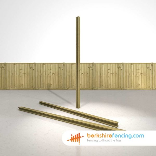 Decorative H Wooden Fence Posts 240cm x 9cm x 9cm natural