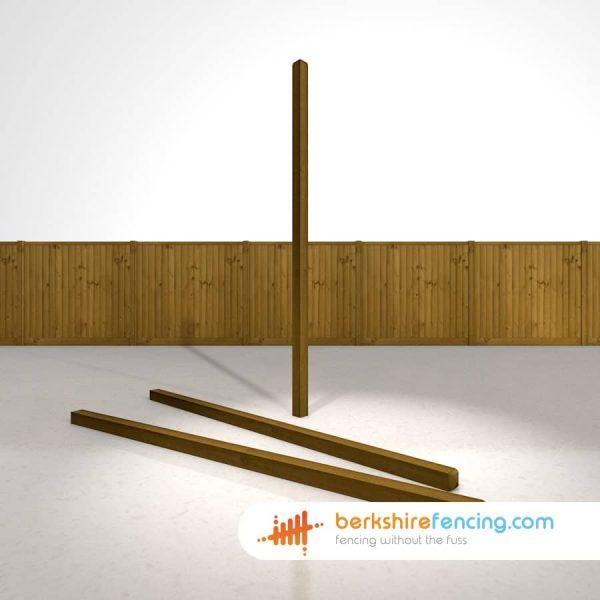 Garden Decorative Wooden Fence Posts 90mm x 90mm x 2400mm brown