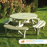 Elite Round Table with Bench Seats (3) 1300mm x 1300mm x 900mm natural
