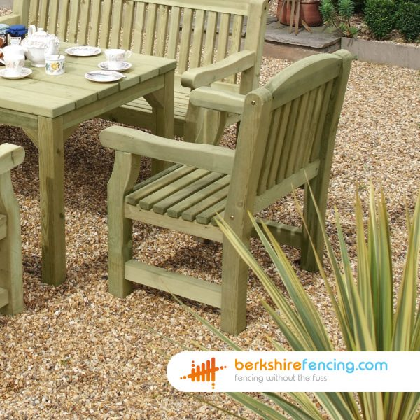 How our Garden Carver Seat look in a lovelly garden in Hungerford