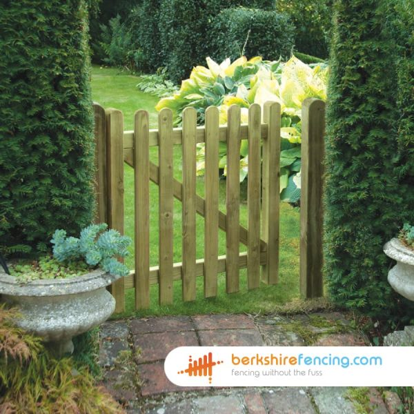 Timber Premium Round Top Picket Gate 900mm x 900mm x 50mm - brown