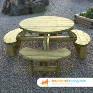 Round Table with Bench Seats (3) 1700mm x 2100mm x 1900mm natural