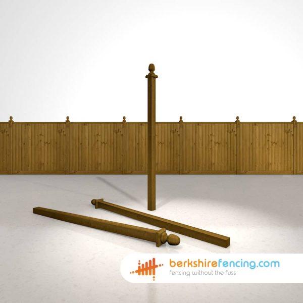 Exclusive Wooden Fence Post Acorn Cap 75mm x 75mm x 125mm brown