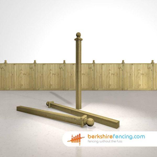 Garden Wooden Fence Post Ball Cap 100mm x 100mm x 125mm natural