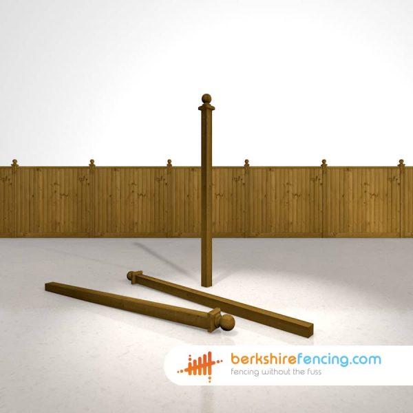 Garden Wooden Fence Post Ball Cap 75mm x 75mm x 125mm brown