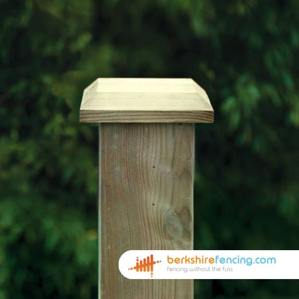 2.5cm x 12cm x 12cm Wooden Fence Post Bevelled Cap Manufactured in FSC Timber for a customer in Earley