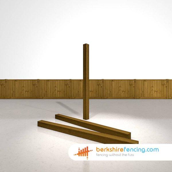 Garden Wooden Fence Posts 100mm x 100mm x 1800mm brown