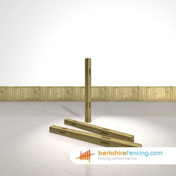 Designer Wooden Morticed Corner Fence Posts 100mm x 100mm x 1500mm natural