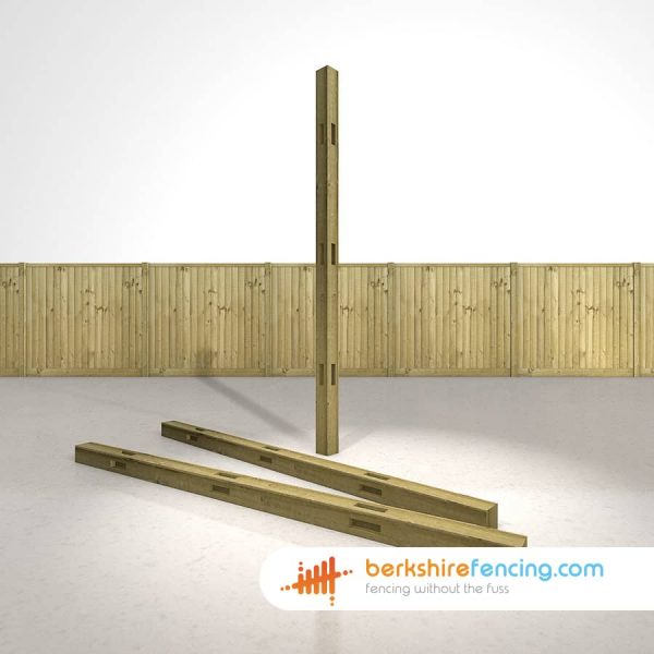 Designer Wooden Morticed Corner Fence Posts 100mm x 100mm x 2400mm natural