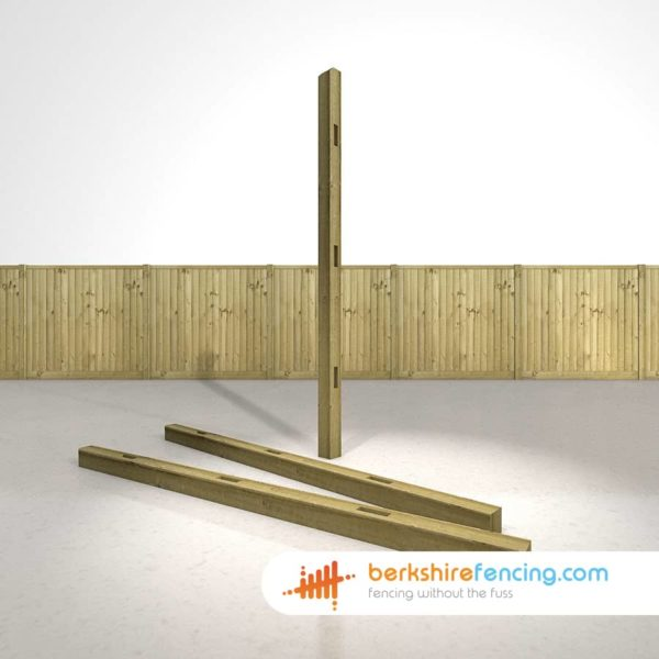Exclusive Wooden Morticed Intermediate Fence Posts 100mm x 100mm x 2400mm natural