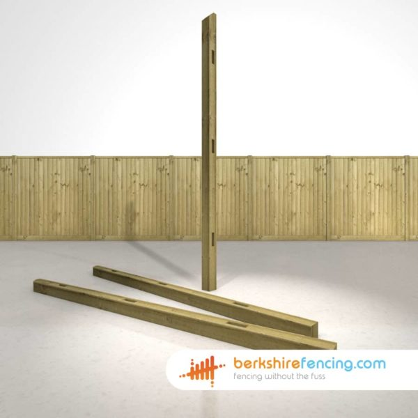 Designer Wooden Morticed Intermediate Fence Posts 100mm x 100mm x 2700mm natural