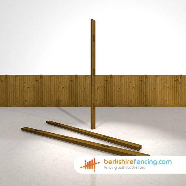 Garden Wooden Morticed Wall Plate 100mm x 100mm x 2400mm brown