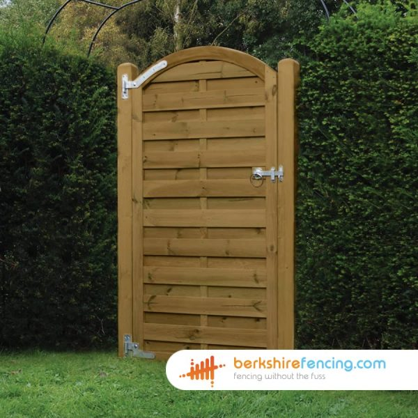 Arched Top Horizontal Panelled Gate 180cm x 90cm x 2cm brown