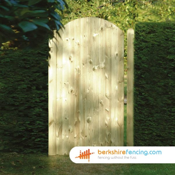 Arched Top Tongue and Groove Panelled Gate 180cm x 90cm x 2cm natural