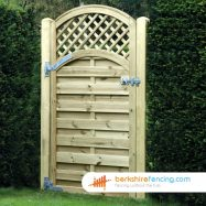 Arched Trellis Top Horizontal Panelled Gates (1) 1800mm x 900mm x 50mm brown