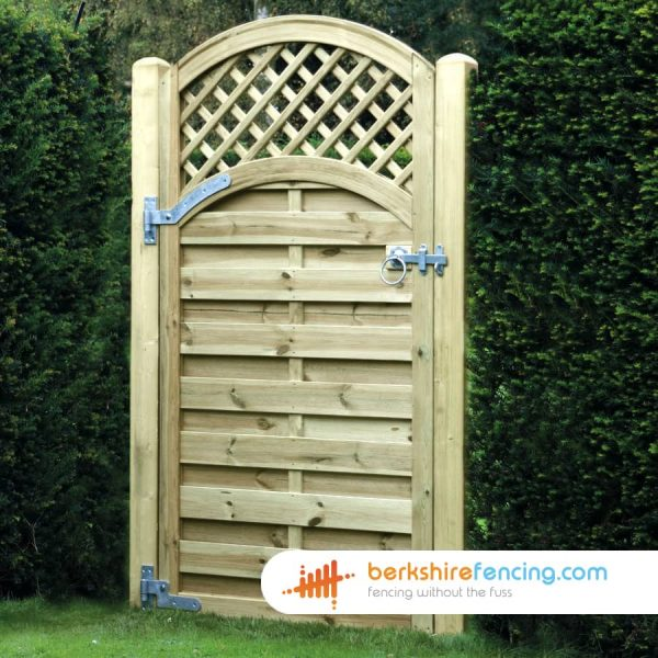 Timber Arched Trellis Top Horizontal Panelled Gate 1800mm x 900mm x 50mm