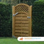 Arched Trellis Top Horizontal Panelled Gate 180cm x 90cm x 2cm brown