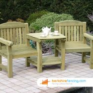 Garden Carver Seat Shelf 60cm x 50cm x 50cm natural