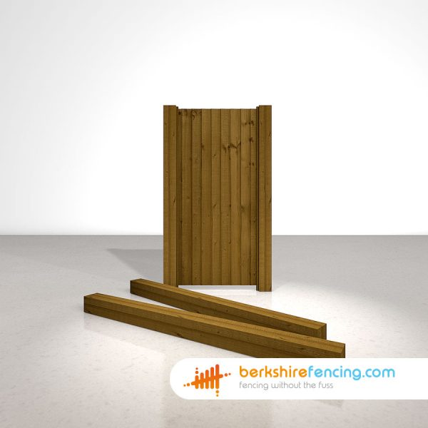 Designer Wooden Gate Posts UC4 Pointed Top 125mm x 125mm x 1800mm brown